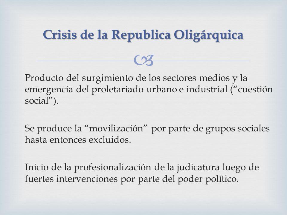 Producto del surgimiento de los sectores medios y la emergencia del proletariado urbano e industrial (cuestión social). Se produce la movilización por