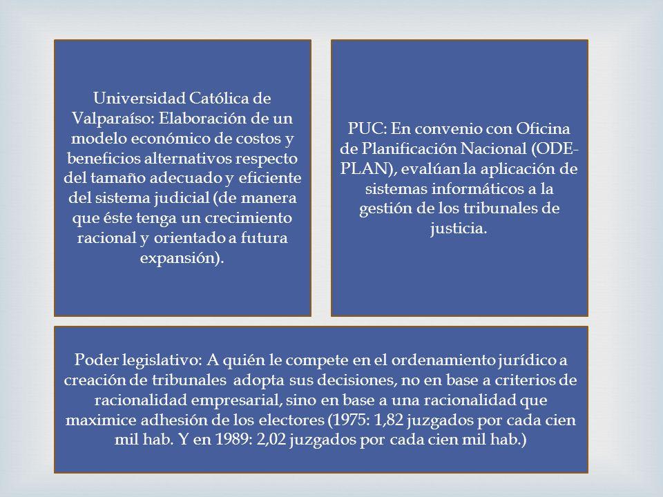 Universidad Católica de Valparaíso: Elaboración de un modelo económico de costos y beneficios alternativos respecto del tamaño adecuado y eficiente del sistema judicial (de manera que éste tenga un crecimiento racional y orientado a futura expansión).