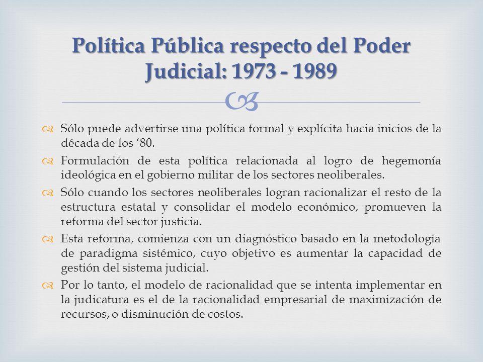 Política Pública respecto del Poder Judicial: 1973 - 1989 Sólo puede advertirse una política formal y explícita hacia inicios de la década de los 80.