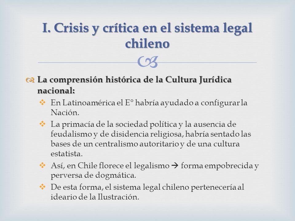 La comprensión histórica de la Cultura Jurídica nacional: La comprensión histórica de la Cultura Jurídica nacional: En Latinoamérica el E° habría ayudado a configurar la Nación.