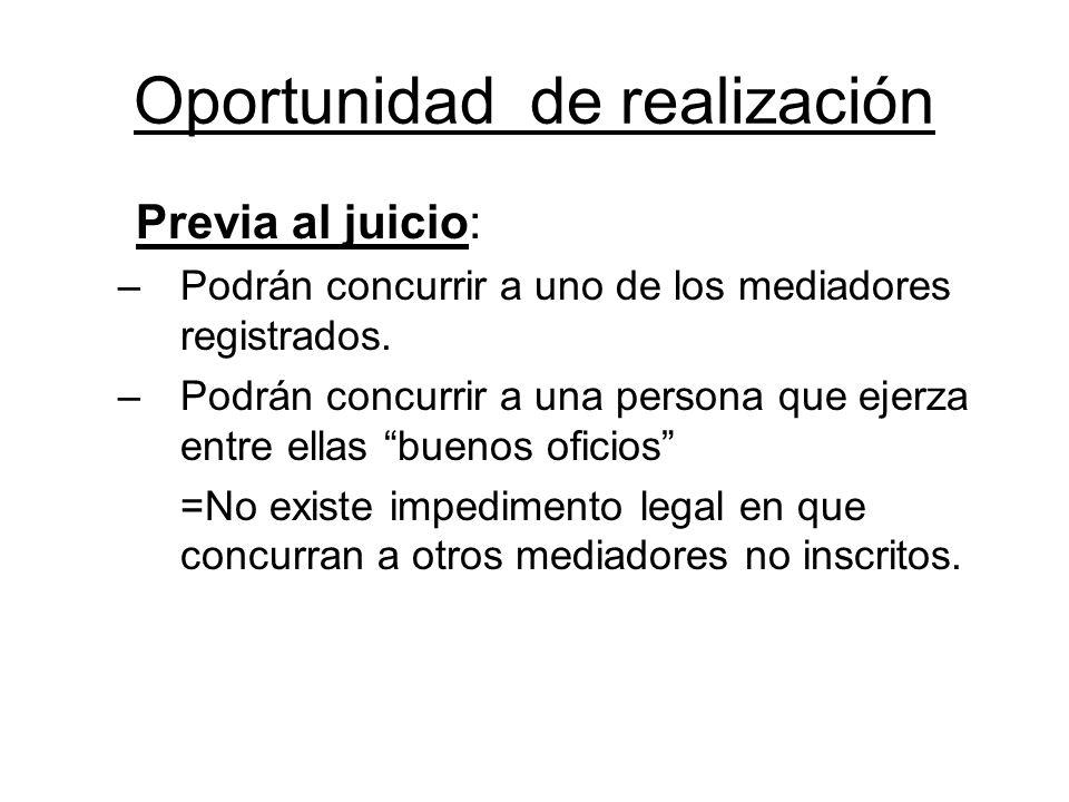 Oportunidad de realización Previa al juicio: –Podrán concurrir a uno de los mediadores registrados. –Podrán concurrir a una persona que ejerza entre e