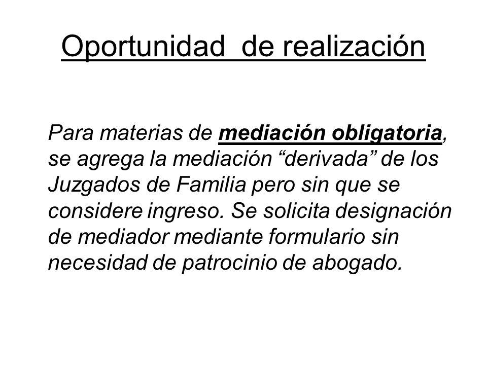 Oportunidad de realización Para materias de mediación obligatoria, se agrega la mediación derivada de los Juzgados de Familia pero sin que se consider
