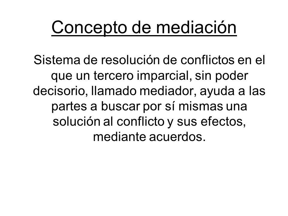 Concepto de mediación Sistema de resolución de conflictos en el que un tercero imparcial, sin poder decisorio, llamado mediador, ayuda a las partes a