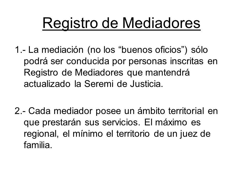 Registro de Mediadores 1.- La mediación (no los buenos oficios) sólo podrá ser conducida por personas inscritas en Registro de Mediadores que mantendr