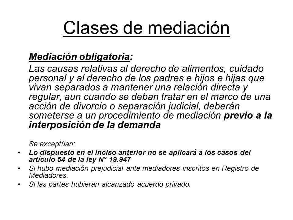 Clases de mediación Mediación obligatoria: Las causas relativas al derecho de alimentos, cuidado personal y al derecho de los padres e hijos e hijas q
