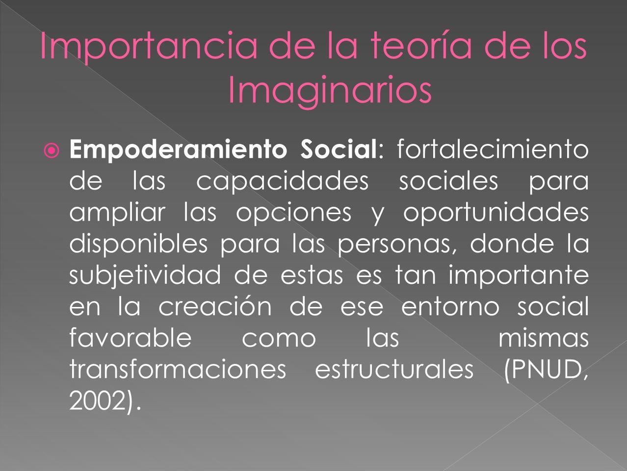 Empoderamiento Social : fortalecimiento de las capacidades sociales para ampliar las opciones y oportunidades disponibles para las personas, donde la subjetividad de estas es tan importante en la creación de ese entorno social favorable como las mismas transformaciones estructurales (PNUD, 2002).