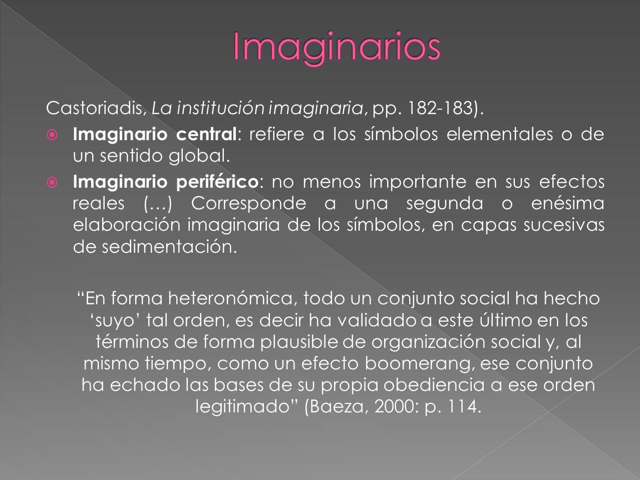 Castoriadis, La institución imaginaria, pp.182-183).
