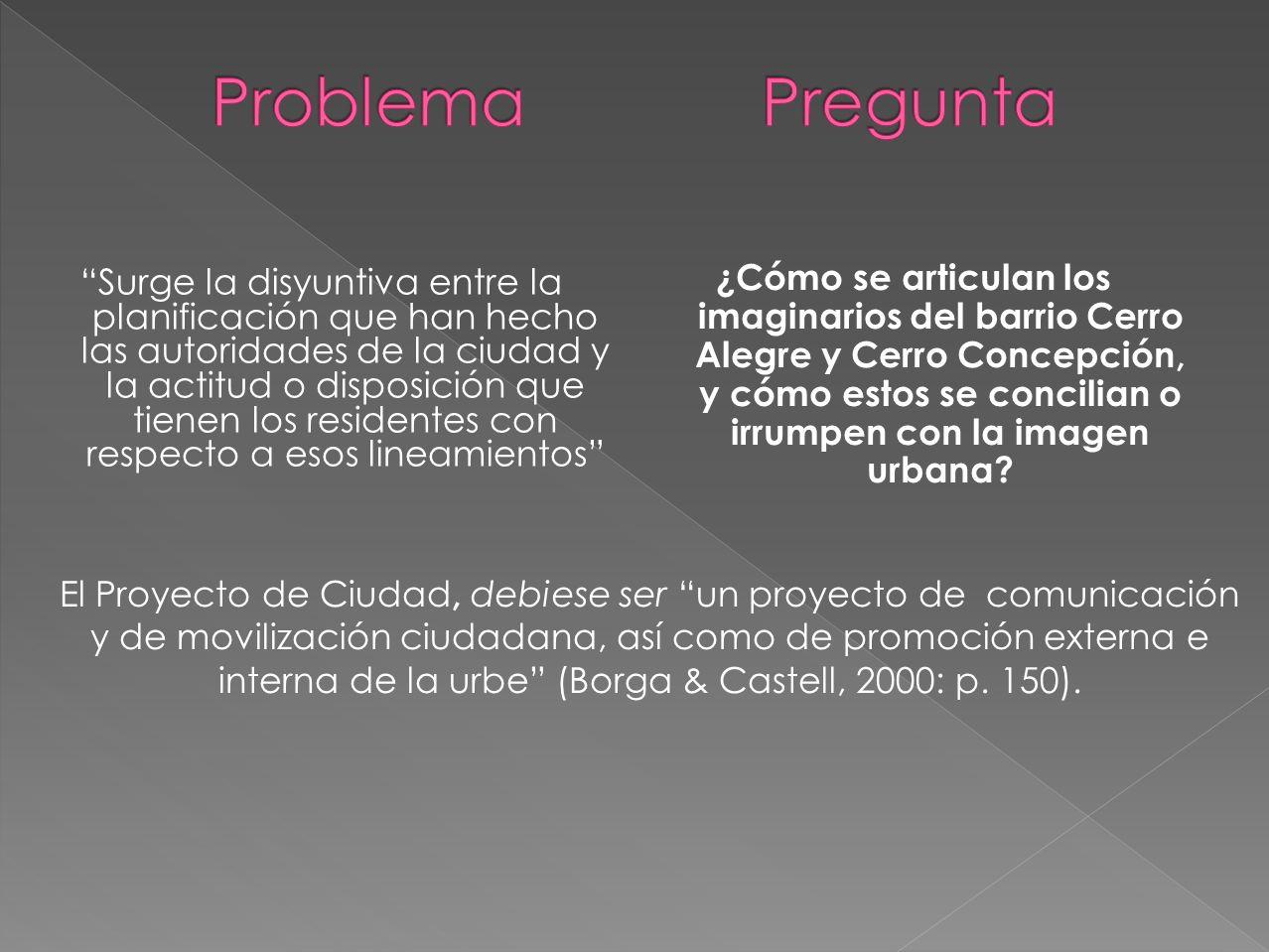 ¿Cómo se articulan los imaginarios del barrio Cerro Alegre y Cerro Concepción, y cómo estos se concilian o irrumpen con la imagen urbana.
