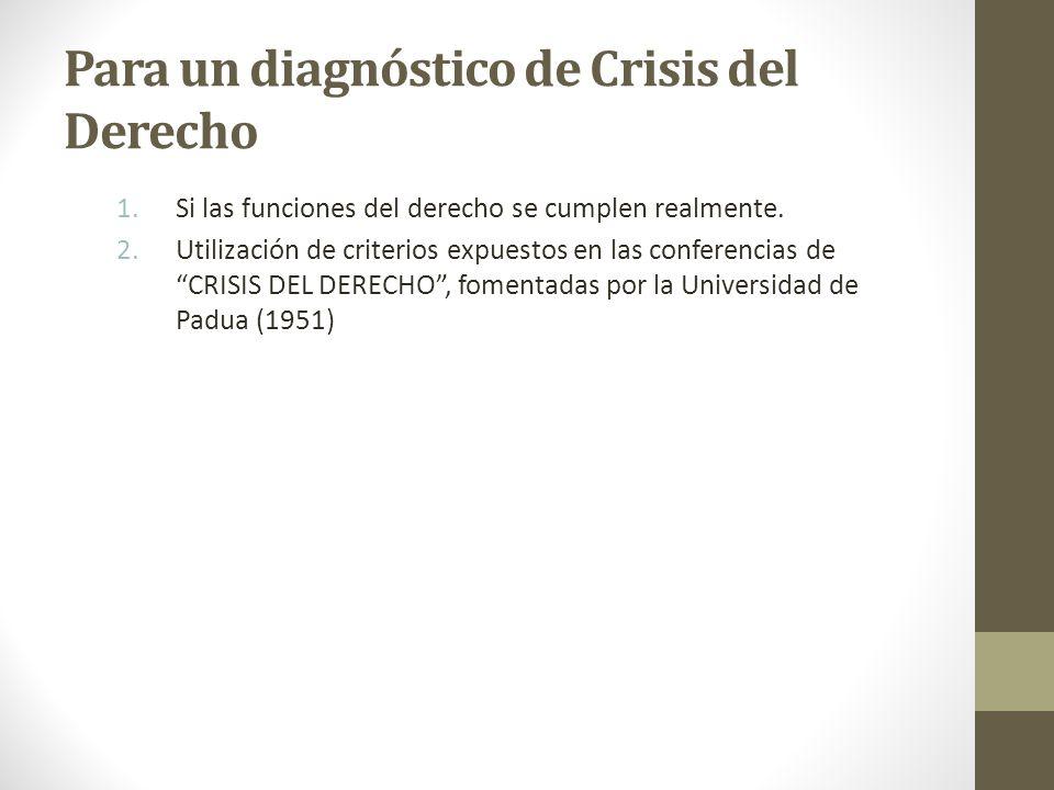 Para un diagnóstico de Crisis del Derecho 1.Si las funciones del derecho se cumplen realmente. 2.Utilización de criterios expuestos en las conferencia