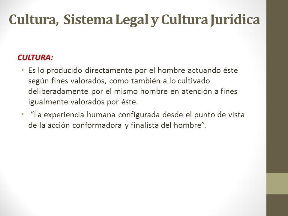 Cultura, Sistema Legal y Cultura Juridica CULTURA: Es lo producido directamente por el hombre actuando éste según fines valorados, como también a lo c