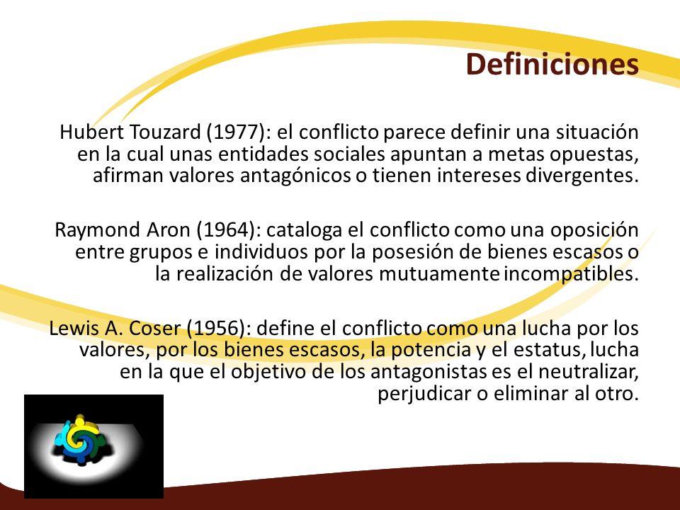 Definiciones Hubert Touzard (1977): el conflicto parece definir una situación en la cual unas entidades sociales apuntan a metas opuestas, afirman val