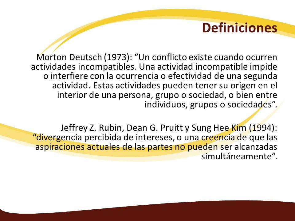 Definiciones Morton Deutsch (1973): Un conflicto existe cuando ocurren actividades incompatibles. Una actividad incompatible impide o interfiere con l