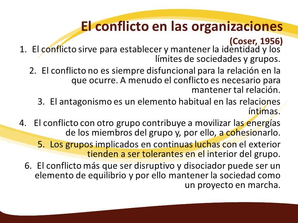 El conflicto en las organizaciones (Coser, 1956) 1.El conflicto sirve para establecer y mantener la identidad y los límites de sociedades y grupos. 2.