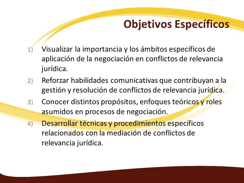 Objetivos Específicos 1) Visualizar la importancia y los ámbitos específicos de aplicación de la negociación en conflictos de relevancia jurídica. 2)