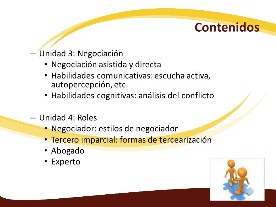 Contenidos – Unidad 3: Negociación Negociación asistida y directa Habilidades comunicativas: escucha activa, autopercepción, etc. Habilidades cognitiv
