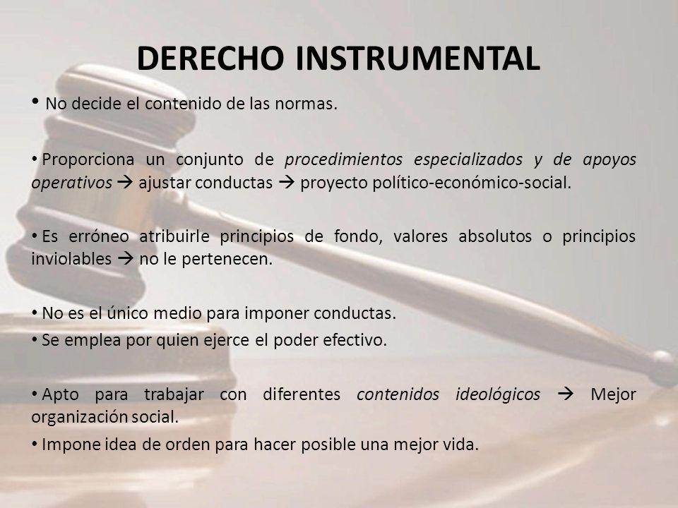 DERECHO INSTRUMENTAL No decide el contenido de las normas. Proporciona un conjunto de procedimientos especializados y de apoyos operativos ajustar con