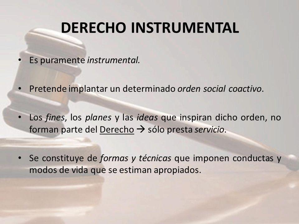 DERECHO INSTRUMENTAL Es puramente instrumental. Pretende implantar un determinado orden social coactivo. Los fines, los planes y las ideas que inspira