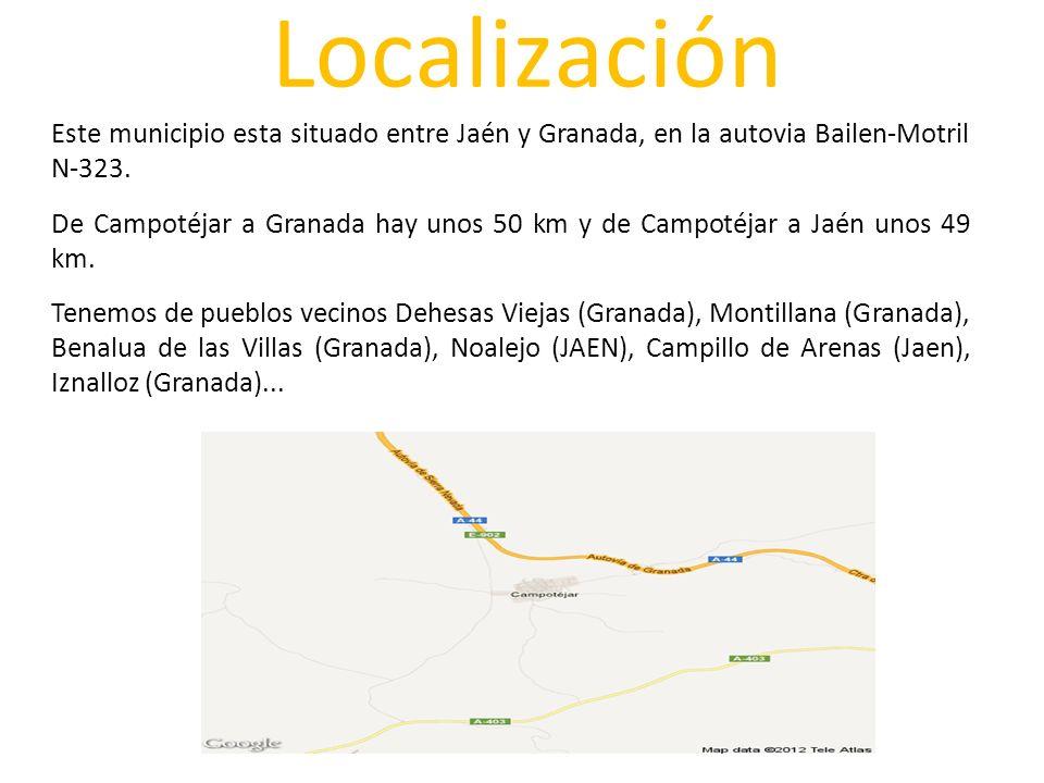Localización Este municipio esta situado entre Jaén y Granada, en la autovia Bailen-Motril N-323. De Campotéjar a Granada hay unos 50 km y de Campotéj