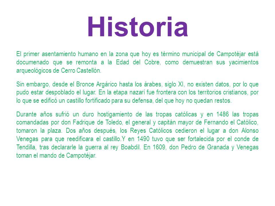 Historia El primer asentamiento humano en la zona que hoy es término municipal de Campotéjar está documenado que se remonta a la Edad del Cobre, como