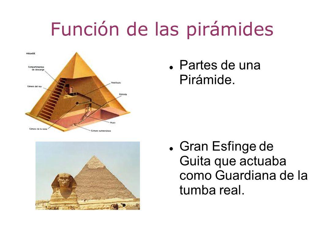 Función de las pirámides Partes de una Pirámide. Gran Esfinge de Guita que actuaba como Guardiana de la tumba real.
