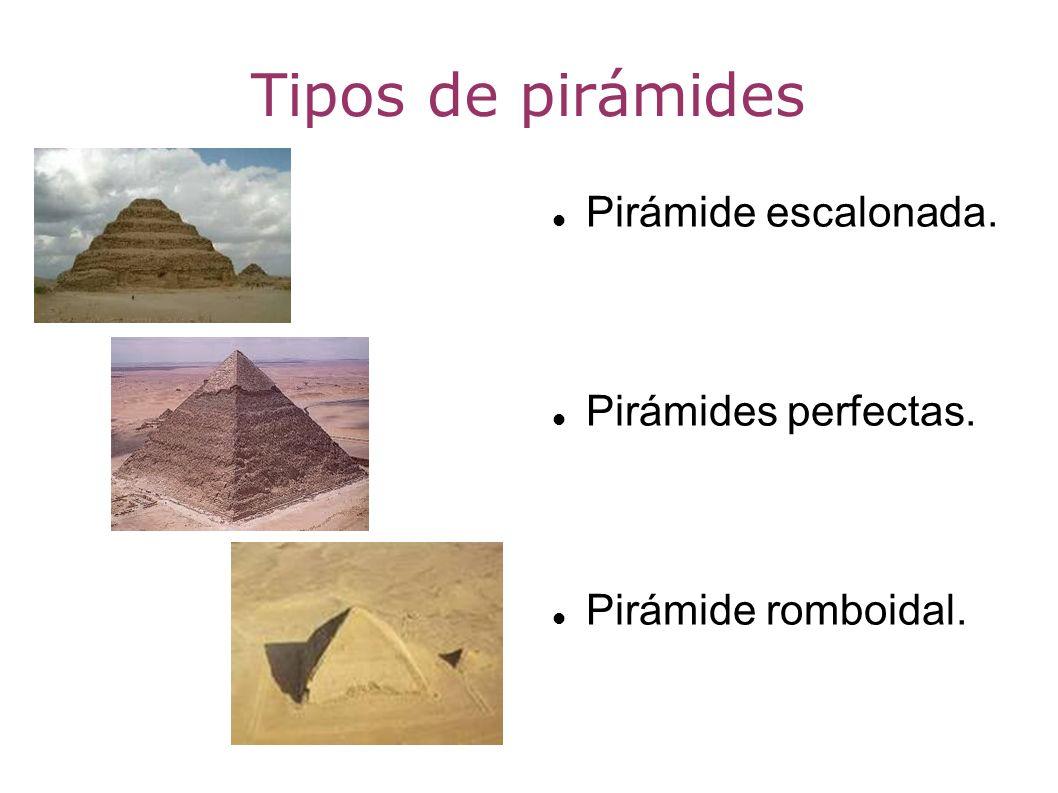 Tipos de pirámides Pirámide escalonada. Pirámides perfectas. Pirámide romboidal.