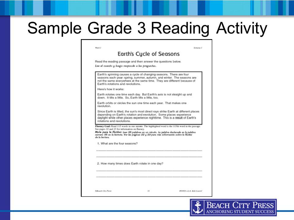 Sample Grade 3 Reading Activity