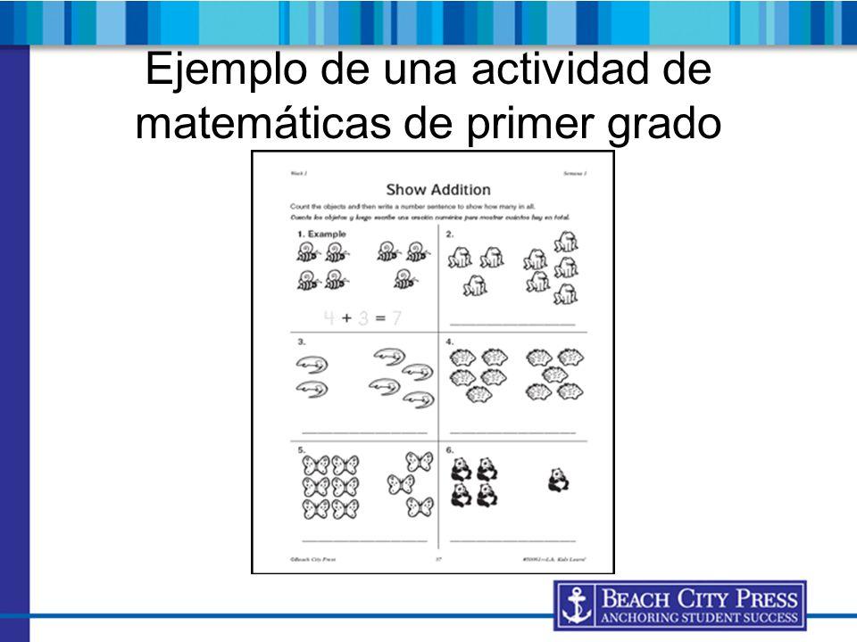 Ejemplo de una actividad de matemáticas de primer grado