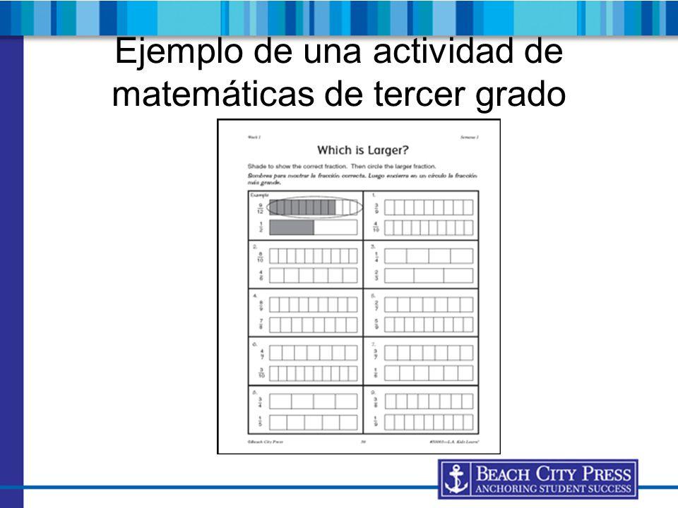 Ejemplo de una actividad de matemáticas de tercer grado