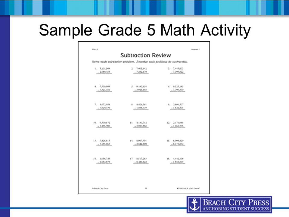 Sample Grade 5 Math Activity