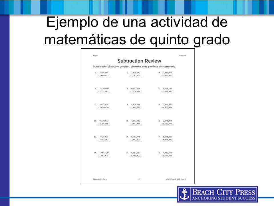 Ejemplo de una actividad de matemáticas de quinto grado