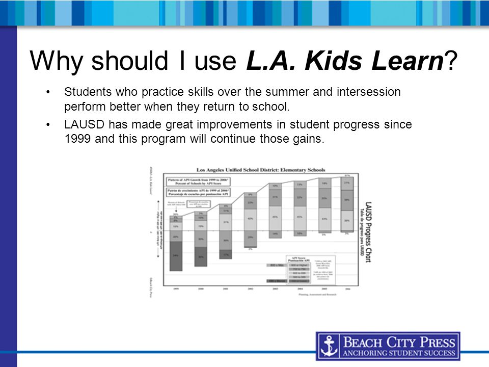 Why should I use L.A. Kids Learn? Students who practice skills over the summer and intersession perform better when they return to school. LAUSD has m