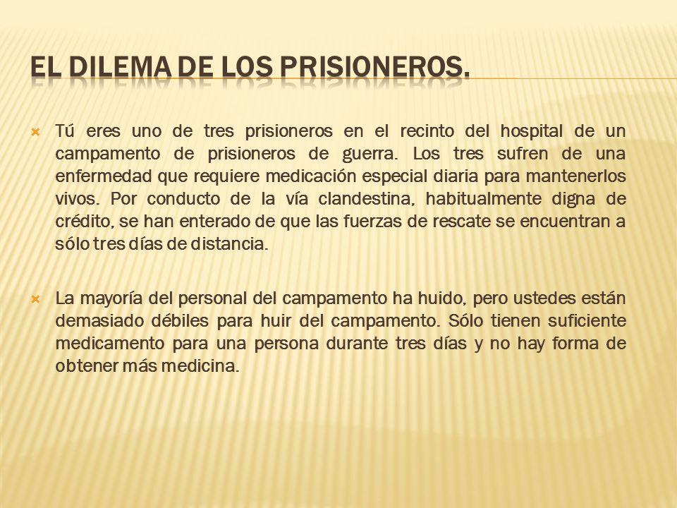 Tú eres uno de tres prisioneros en el recinto del hospital de un campamento de prisioneros de guerra. Los tres sufren de una enfermedad que requiere m