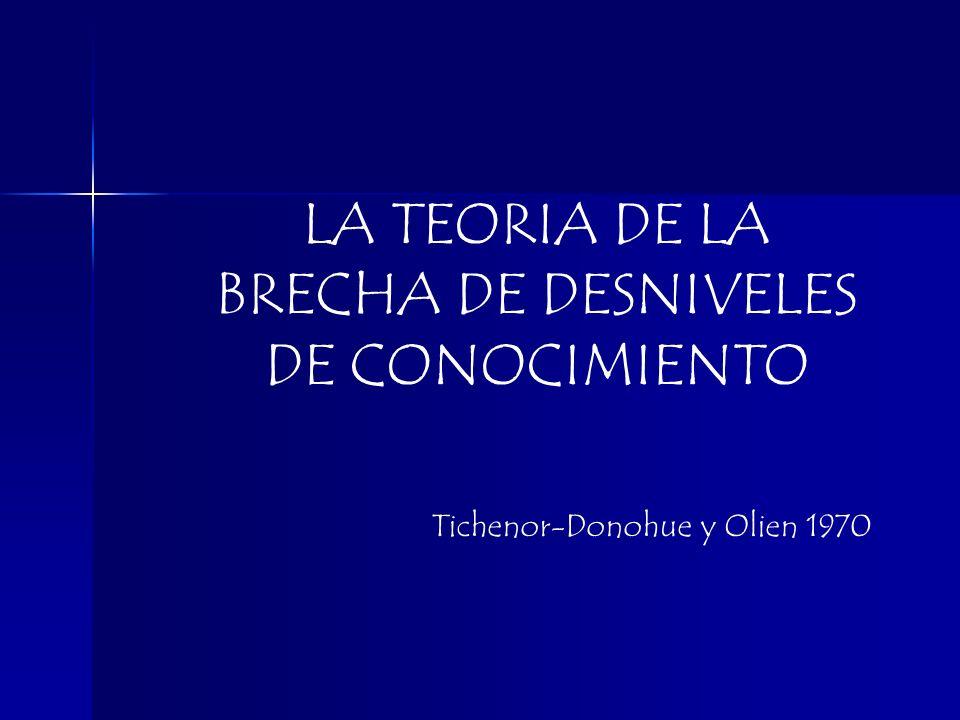 LA TEORIA DE LA BRECHA DE DESNIVELES DE CONOCIMIENTO Tichenor-Donohue y Olien 1970