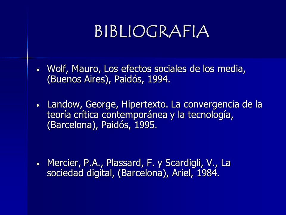 BIBLIOGRAFIA Wolf, Mauro, Los efectos sociales de los media, (Buenos Aires), Paidós, 1994. Wolf, Mauro, Los efectos sociales de los media, (Buenos Air