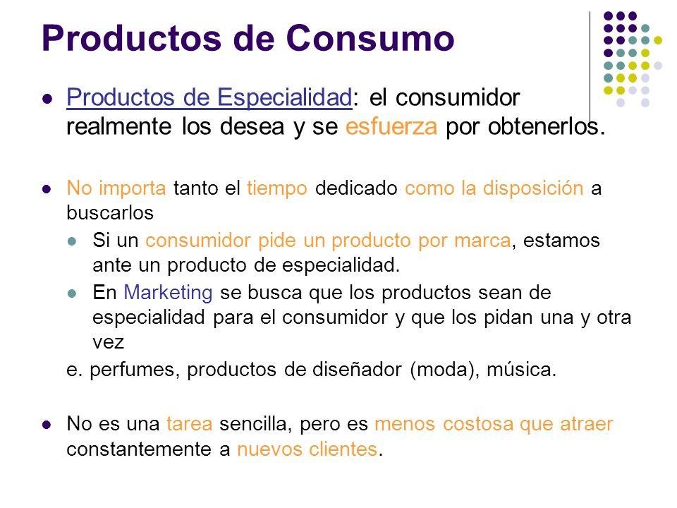 Productos de Especialidad: el consumidor realmente los desea y se esfuerza por obtenerlos. No importa tanto el tiempo dedicado como la disposición a b