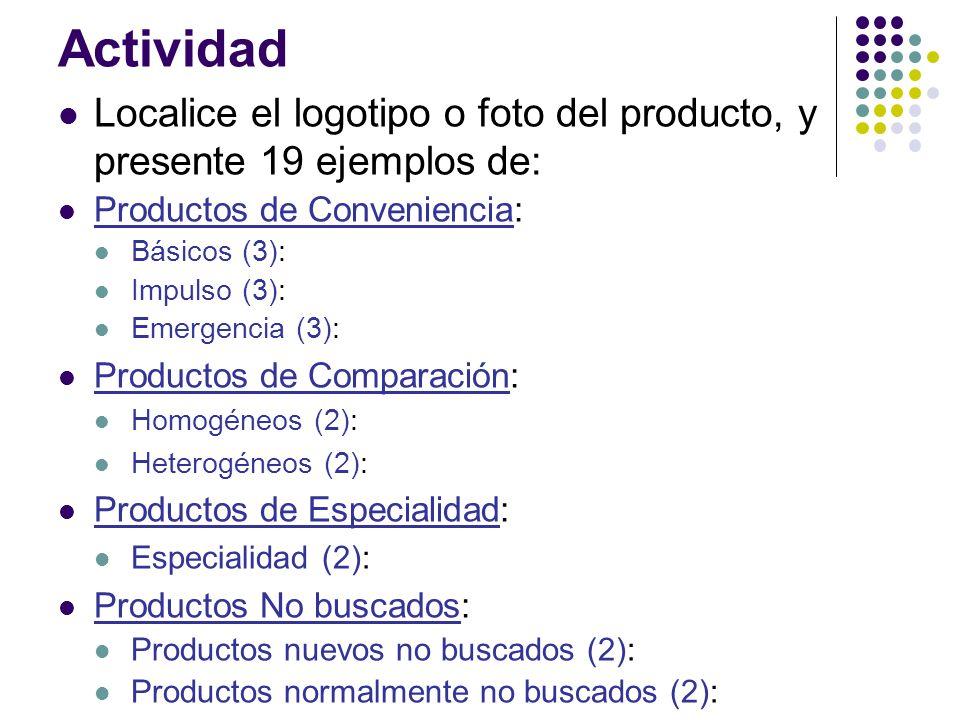 Actividad Localice el logotipo o foto del producto, y presente 19 ejemplos de: Productos de Conveniencia: Básicos (3): Impulso (3): Emergencia (3): Pr