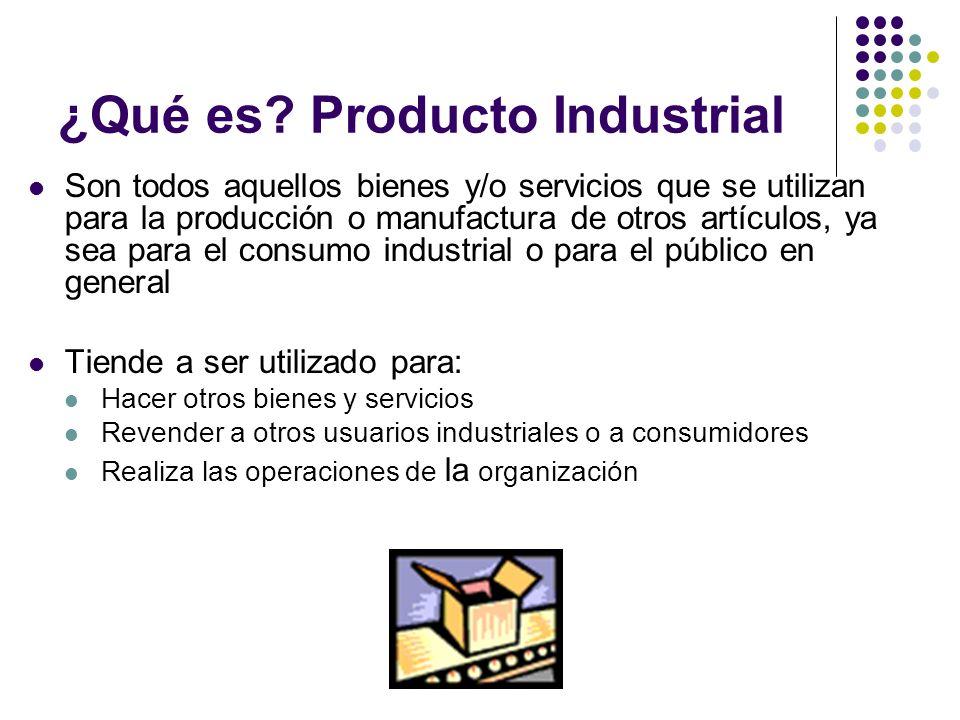 ¿Qué es? Producto Industrial Son todos aquellos bienes y/o servicios que se utilizan para la producción o manufactura de otros artículos, ya sea para