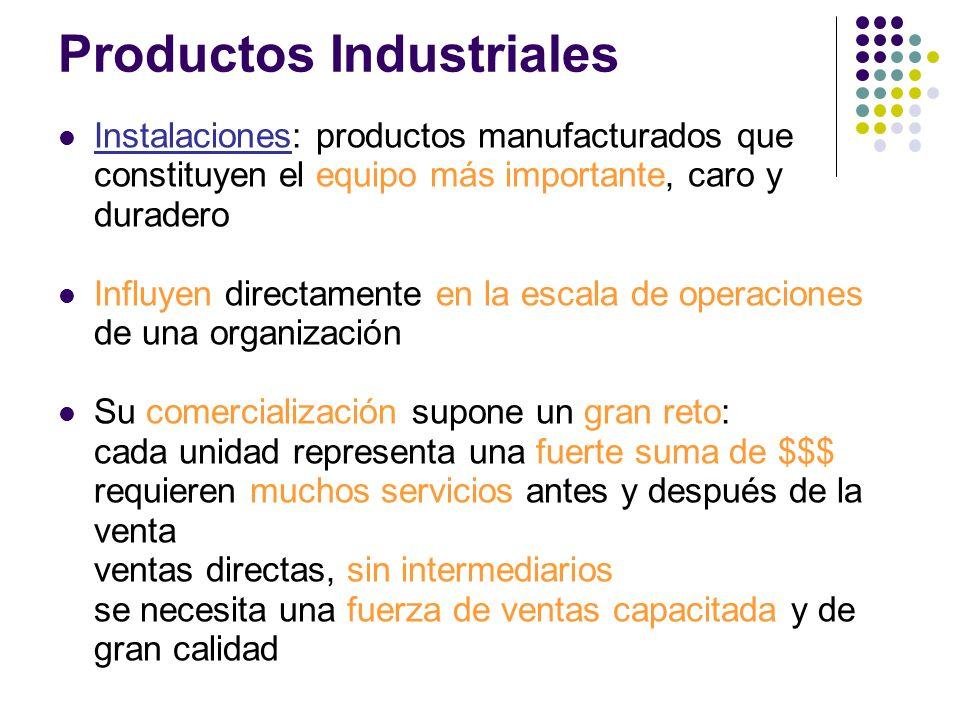 Instalaciones: productos manufacturados que constituyen el equipo más importante, caro y duradero Influyen directamente en la escala de operaciones de