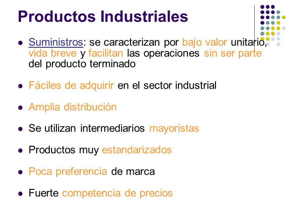 Suministros: se caracterizan por bajo valor unitario, vida breve y facilitan las operaciones sin ser parte del producto terminado Fáciles de adquirir
