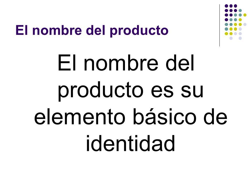 El nombre del producto El nombre del producto es su elemento básico de identidad