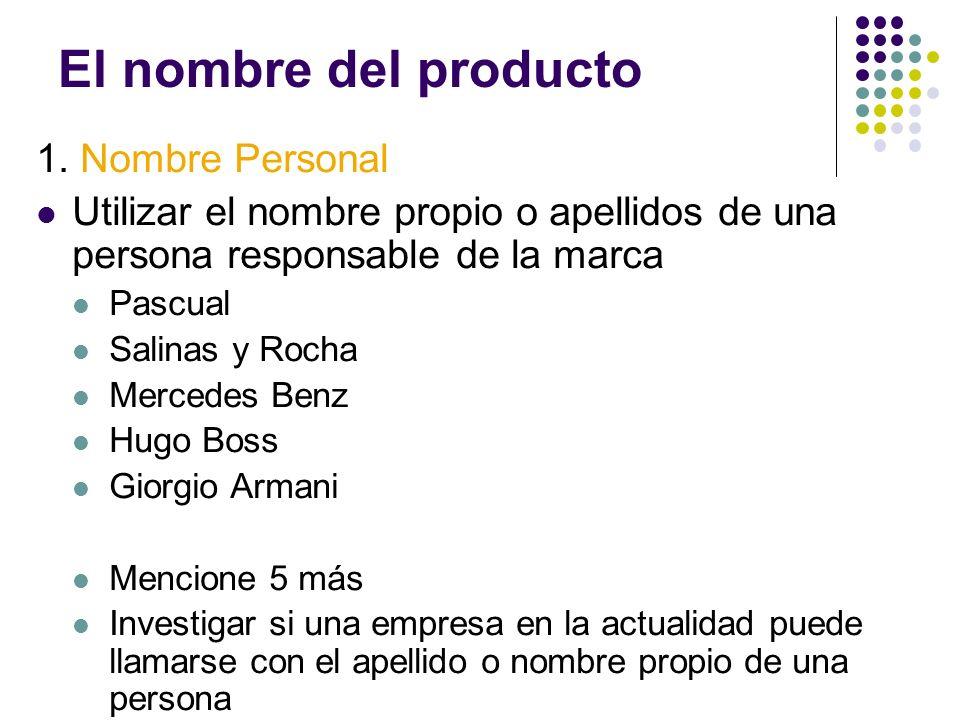 El nombre del producto 1. Nombre Personal Utilizar el nombre propio o apellidos de una persona responsable de la marca Pascual Salinas y Rocha Mercede