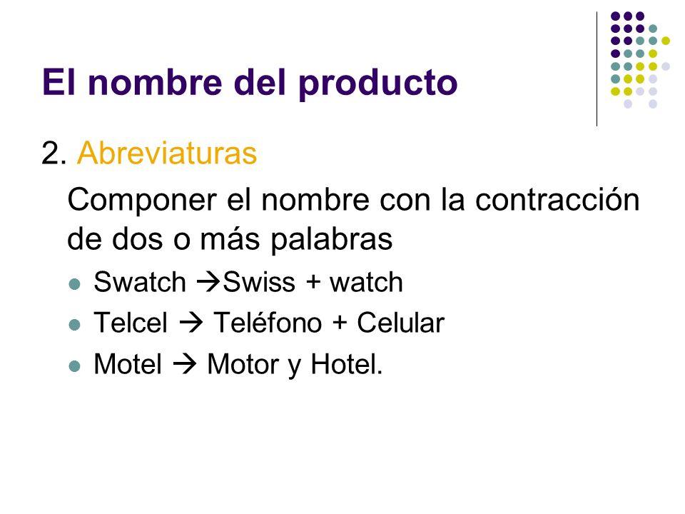 El nombre del producto 2. Abreviaturas Componer el nombre con la contracción de dos o más palabras Swatch Swiss + watch Telcel Teléfono + Celular Mote