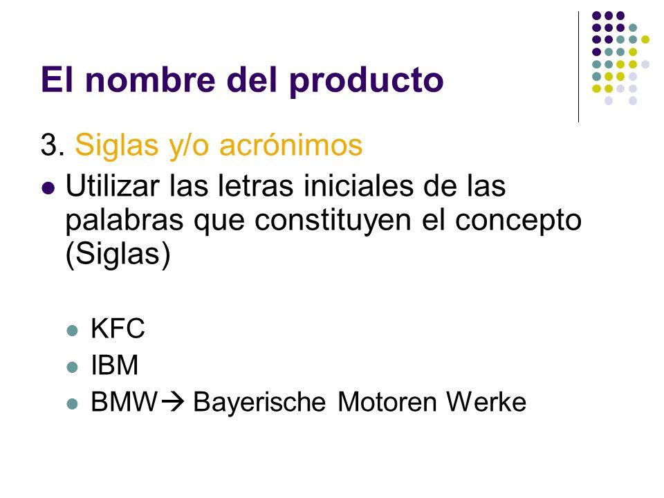 El nombre del producto 3. Siglas y/o acrónimos Utilizar las letras iniciales de las palabras que constituyen el concepto (Siglas) KFC IBM BMW Bayerisc