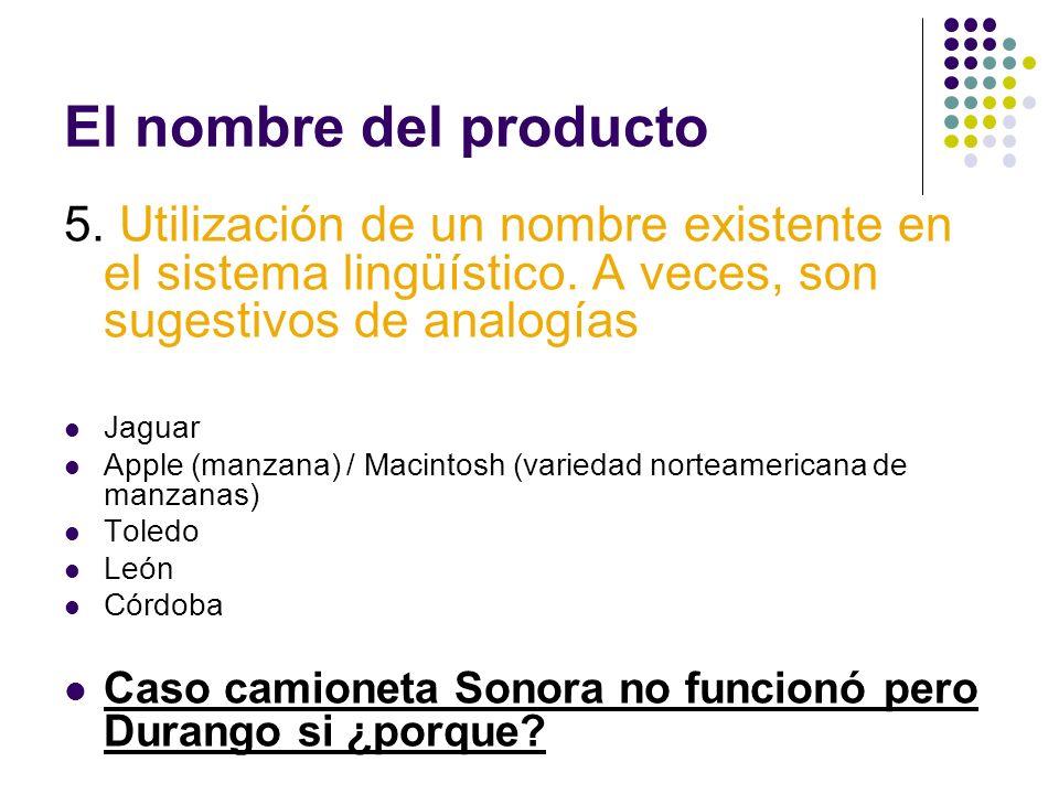 El nombre del producto 5. Utilización de un nombre existente en el sistema lingüístico. A veces, son sugestivos de analogías Jaguar Apple (manzana) /