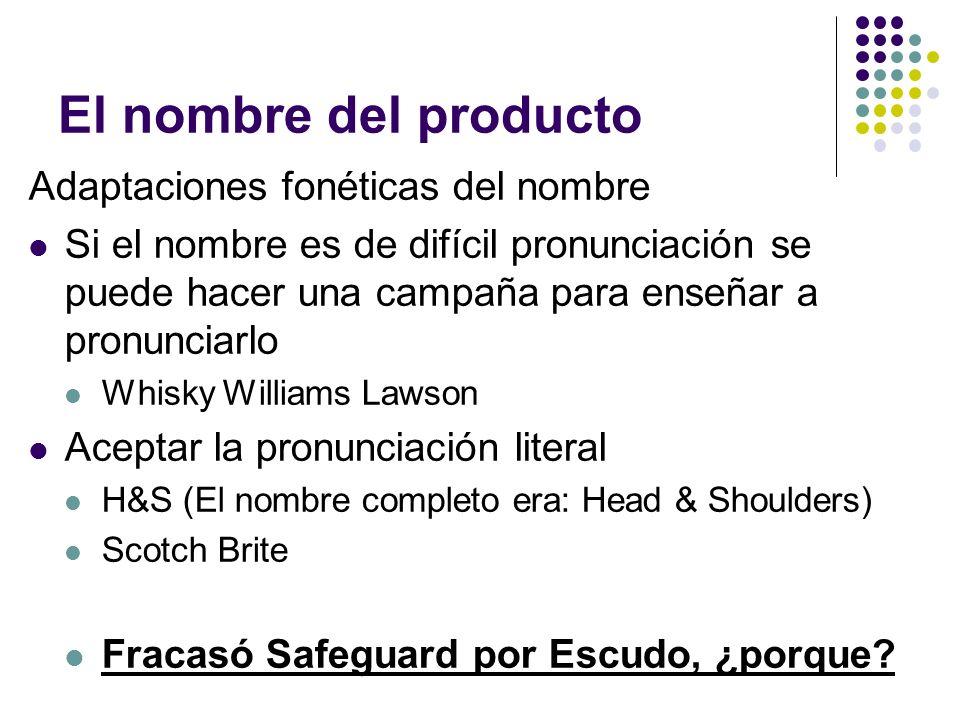 El nombre del producto Adaptaciones fonéticas del nombre Si el nombre es de difícil pronunciación se puede hacer una campaña para enseñar a pronunciar