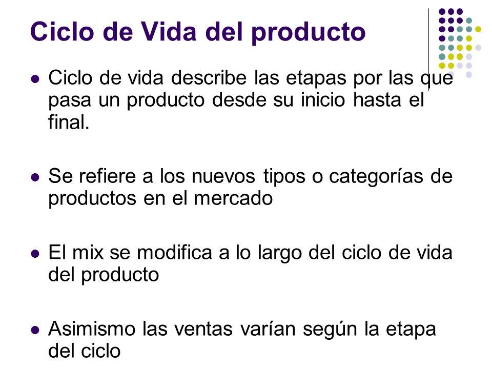 Ciclo de Vida del producto Ciclo de vida describe las etapas por las que pasa un producto desde su inicio hasta el final. Se refiere a los nuevos tipo