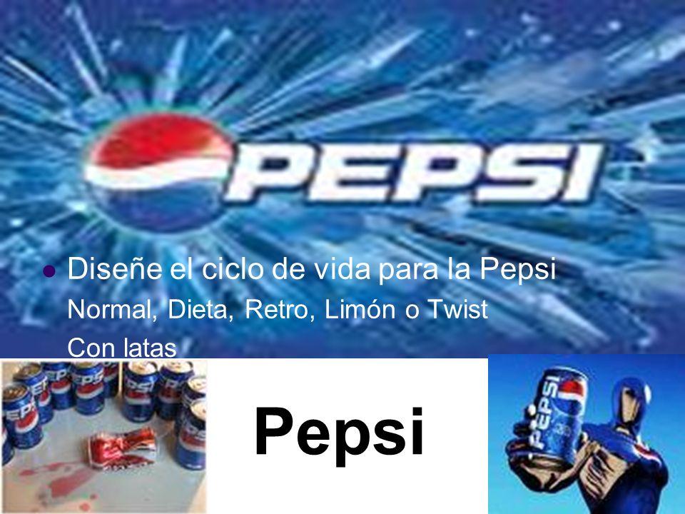 Pepsi Diseñe el ciclo de vida para la Pepsi Normal, Dieta, Retro, Limón o Twist Con latas