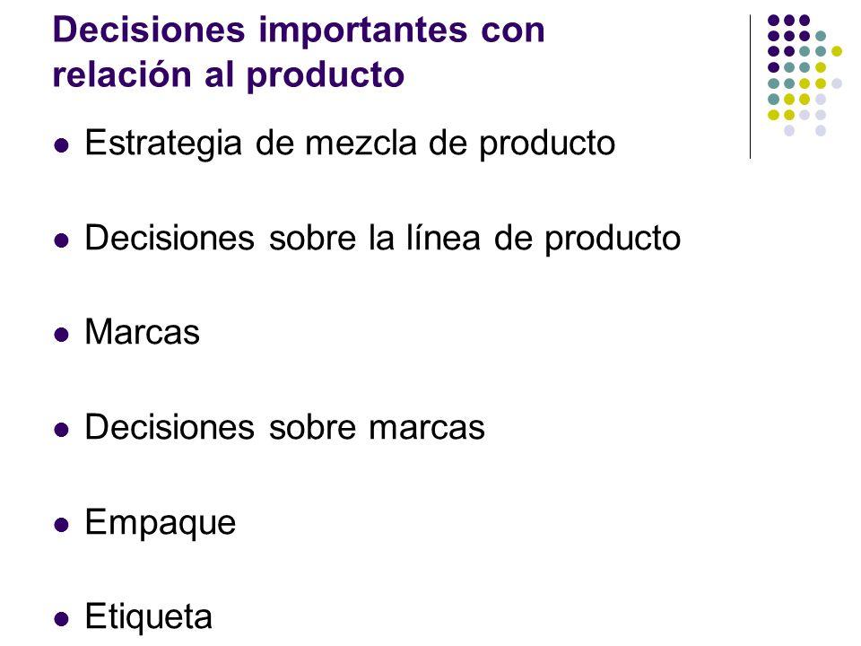 Decisiones importantes con relación al producto Estrategia de mezcla de producto Decisiones sobre la línea de producto Marcas Decisiones sobre marcas
