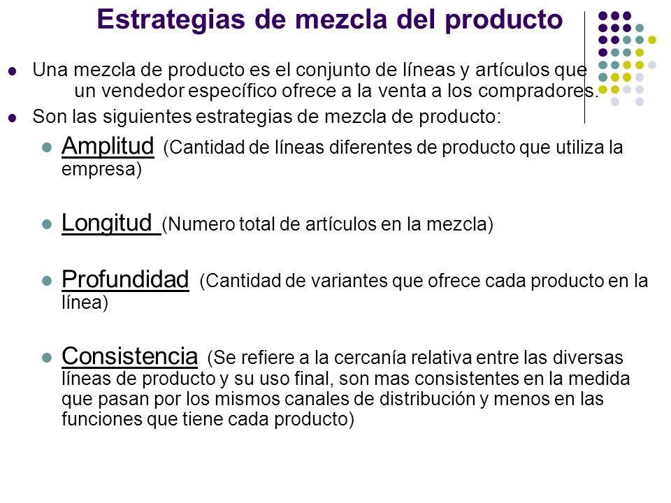 Estrategias de mezcla del producto Una mezcla de producto es el conjunto de líneas y artículos que un vendedor específico ofrece a la venta a los comp