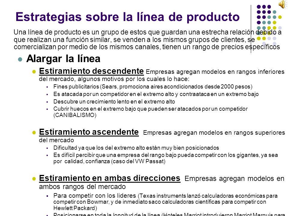 Estrategias sobre la línea de producto Una línea de producto es un grupo de estos que guardan una estrecha relación debido a que realizan una función